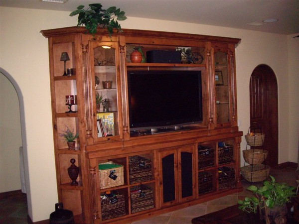 Built in wall unit with clipped corners