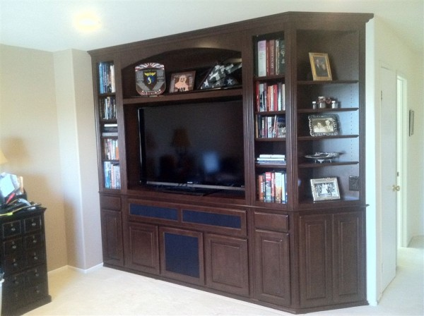 Maple wall unit with clipped corners