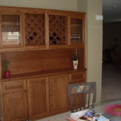 Built in shelves in oak