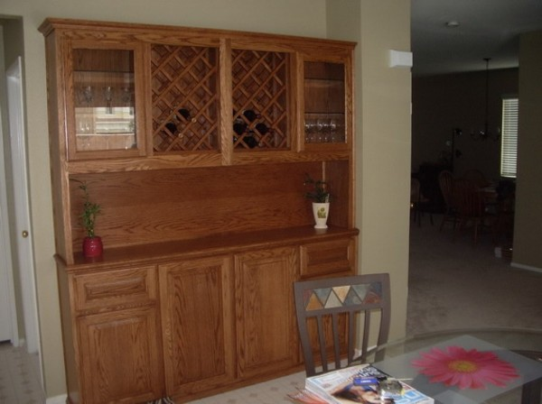 Oak built in cabinets