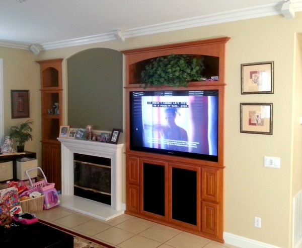 Entertainment center finished in Mocha on Maple. Escondido, CA.