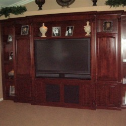 Custom entertainment center cabinetry.
