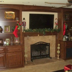Custom entertainment center with fireplace