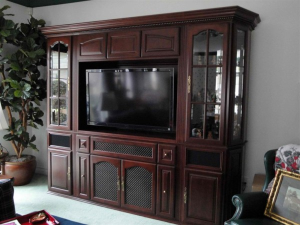 Custom built wall unit with flat wall installation.