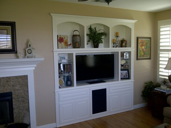 Stunning white lacquer custom entertainment center cabinet of maple. Corona, CA