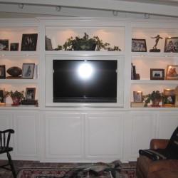 White lacquer built in bookshelves in Tustin, CA