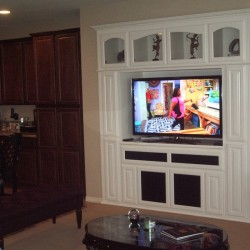 Wall unit with arched glass doors