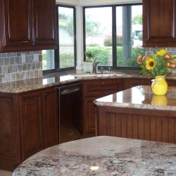 Kitchen cabinets with beadboard detail