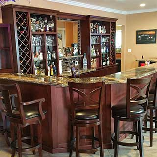 Custom home bar cabinets in Orange County