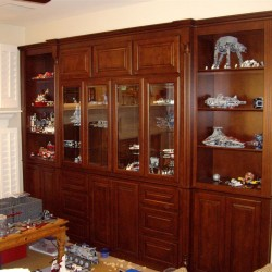 Cabinets to display son's LEGO creations