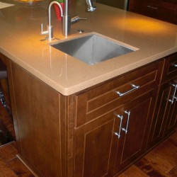 Kitchen island cabinets with shaker style doors and soft close hinges.