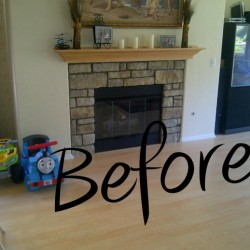 Before our custom fireplace mantel
