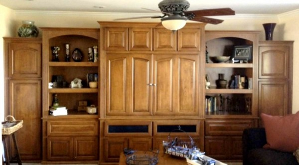 Built in wall unit with bi-fold doors