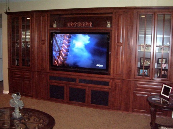Maple wall unit built for home in Southern California