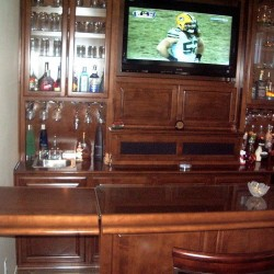 "Home entertainment Bar with ""flip up access""."