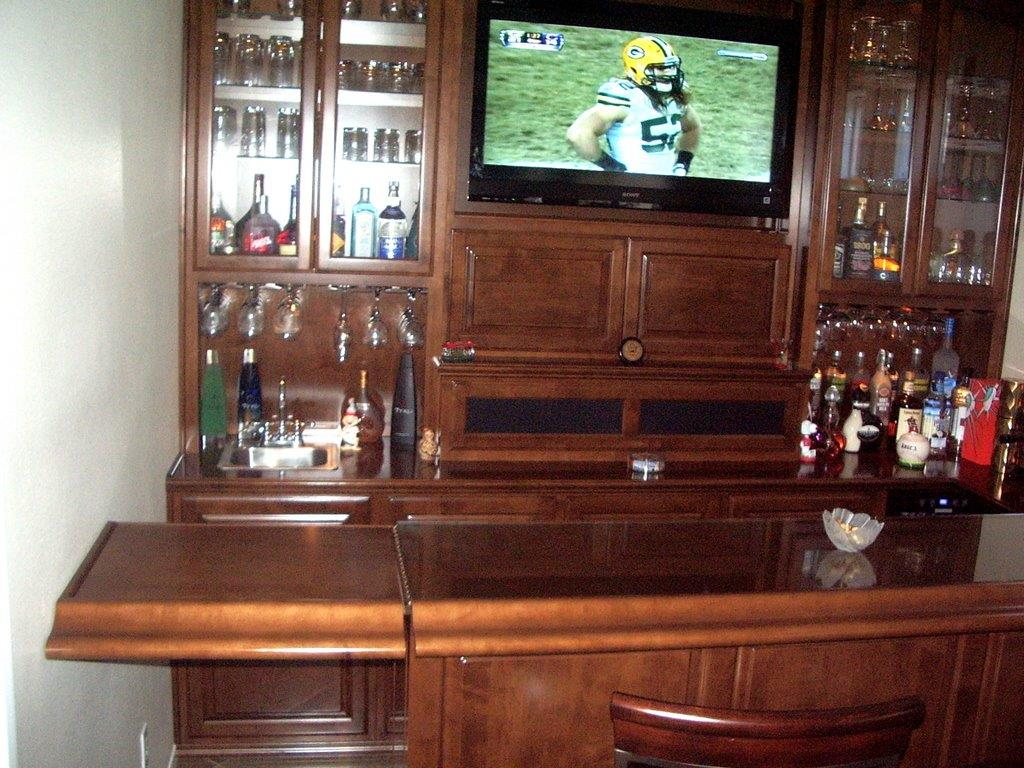 Home entertainment bar with flip up access c l for Entertainment bar for home