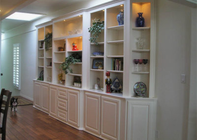 White built in shelves