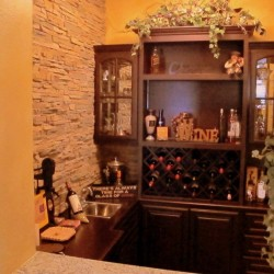 We turned what was once an entryway closet into this beautiful built in bar in Yorba Linda.