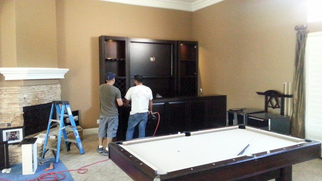 Corona ca installing the new bar cabinets c l design Built in bar cabinets