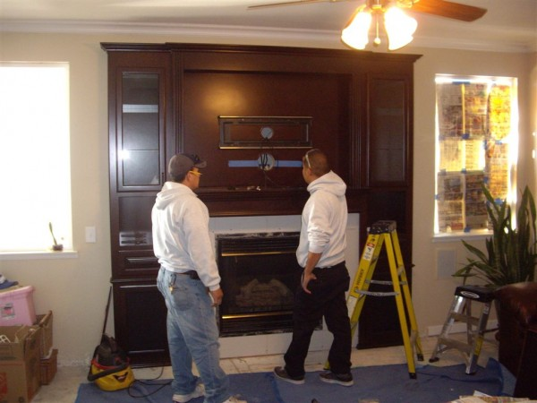Entertainment center installation in Corona CA