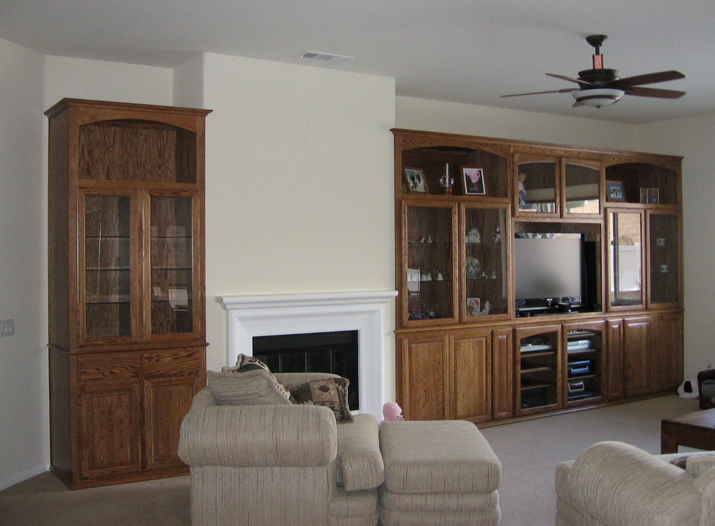 Built in wall unit in niches next to fireplace. | C & L Design ...