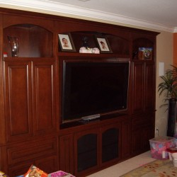 Built in wall unit with arches.