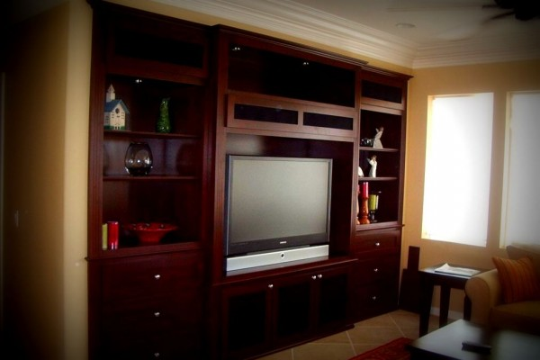 Shaker style entertainment center in South Corona Ca.