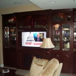 Built in media center with glass doors