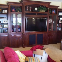 Built in media center with glass doors