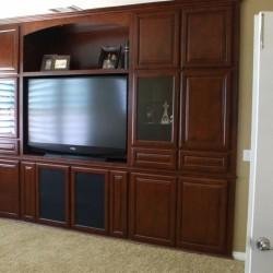 Custom wall unit with raised panel doors