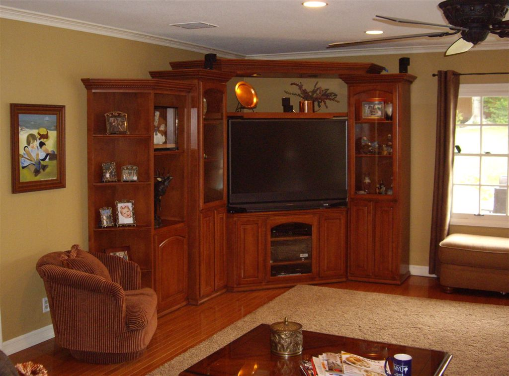 built in corner wall unit