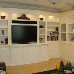 Custom, corner, built in wall unit in white lacquer