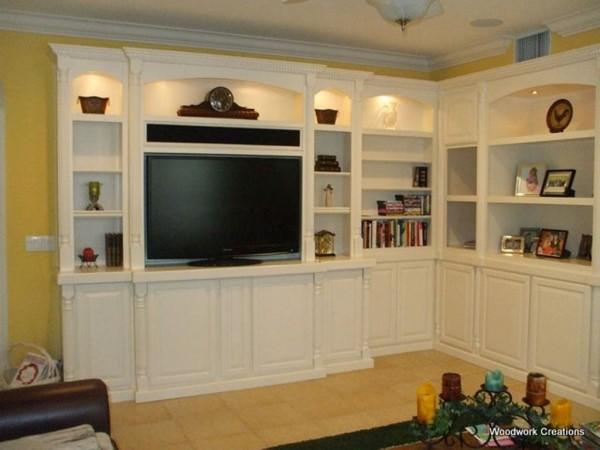 Custom, corner, built in wall unit in white lacquer | C & L Design ...