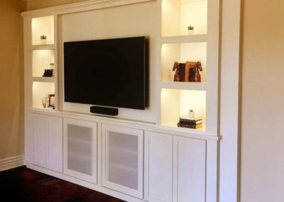 After cabinet magic - A beautiful built in entertainment center.