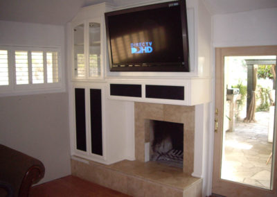 After - custom cabinets built around fireplace