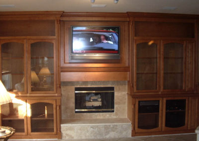 After - custom cabinets around fireplace