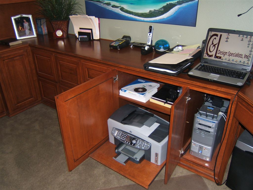 Built In Home Office With Computer Tower And Printer Storage