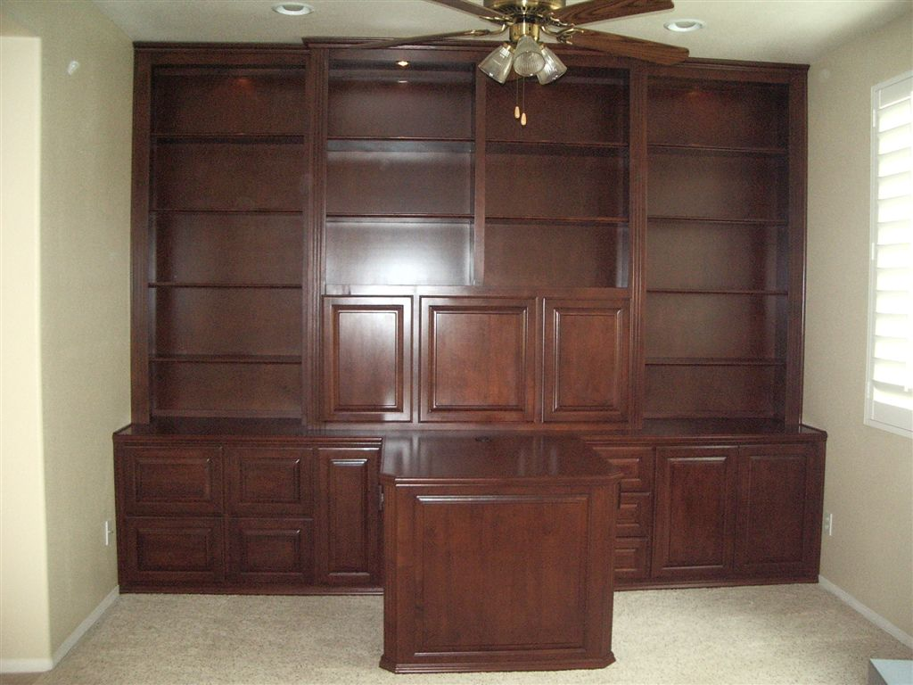Home office cabinetry can be built with a partner desk - Home office cabinetry design ...