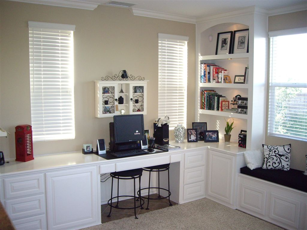 Custom, Home Office Desk Finished In White Lacquer With Bookshelves And  Window Seat