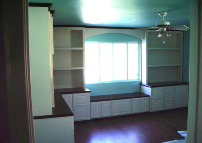 Two toned built in desk and shelves in Chino HIlls
