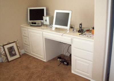 Custom white home office desk