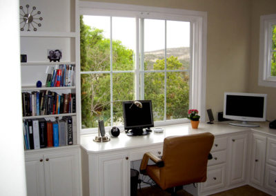 White desk with built in book shelves