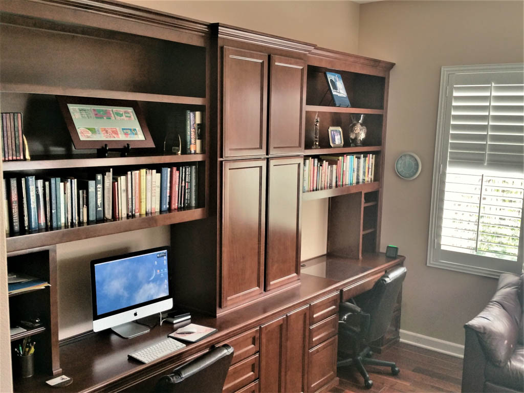 custom home office with multiple desks