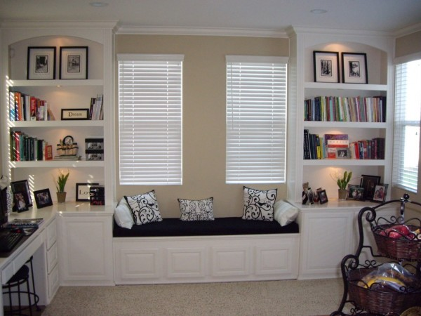 Home Office Bookcases With Built In Shelving And Window