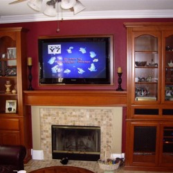 Custom cabinets around fireplace in Ladera Ranch
