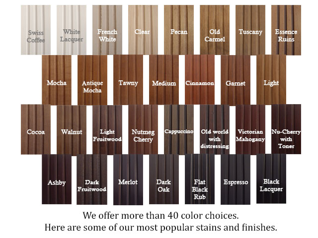 custom cabinet colors and stains. what cabinet color will you pick?