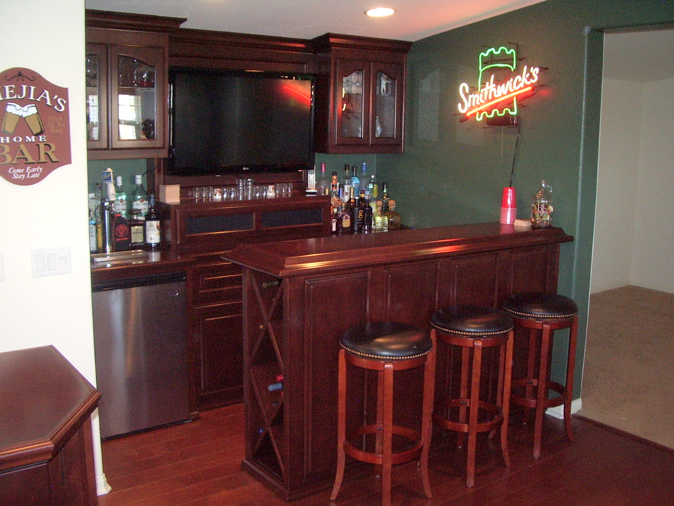 Genial Irish Pub In Yorba Linda California Loft. Wine Storage On Bar Side