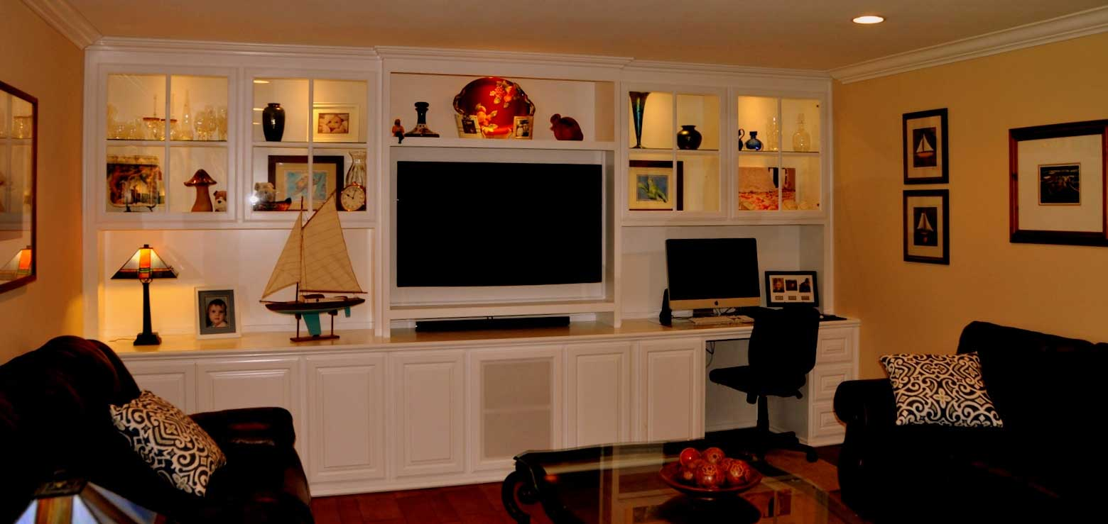 Built in white entertainment center cabinets | C & L ...