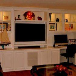 White custom entertainment center cabinetry