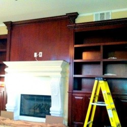 Media niche with built in wall unit installed.